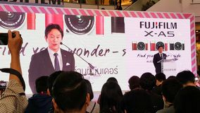 BANGKOK, THAILAND - FEBRUARY 20, 2018: Unveil event of Fujifilm. X-A5, the latest mirrorless camera X-A Series for entry customer segment from Fujifilm that has royalty free stock image