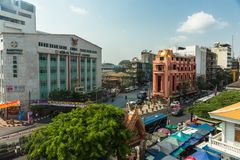 BANGKOK, THAILAND - February 14, 2019 View to the buildings and streets of Bangkok city, Thailand in daylight royalty free stock photo