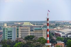 Telecommunications tower at King Mongkut`s Institute of Technology Ladkrabang Royalty Free Stock Image