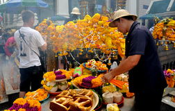 Bangkok, Thailand: Floral Offerings at Shrine Stock Photography