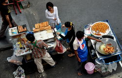 Bangkok, Thailand: Food Vendors on Silom Road Royalty Free Stock Photography