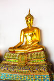 BANGKOK, THAILAND. Golden Buddha in the temple of Wat Pho Royalty Free Stock Photo