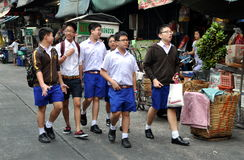 Bangkok, Thailand: Group Teenage Schoolboys Royalty Free Stock Photos