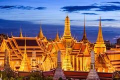 Bangkok Thailand Historic Buildings. Bangkok, Thailand at Royal Palace and Temple of the Emerald Buddha at night Stock Images