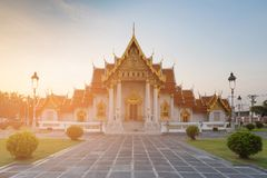 Bangkok Thailand Historic Landmark, Marble Temple. Buddhism worship Royalty Free Stock Photo