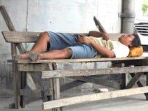 Bangkok-Thailand:   Homeless people. Royalty Free Stock Image