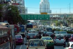 Bangkok Thailand, i stadens centrum trafikstockning Royaltyfria Bilder