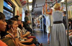 Bangkok, Thailand: Interior of BTS Skytrain Car Stock Photo