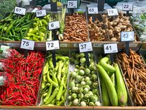 Lot of fruits and vegetables with prices for sale royalty free stock photos