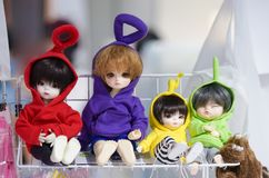 Bangkok, Thailand - Jan 27, 2019 : A photo of cute plush ball jointed doll BJD doll wearing colorful teletubbies sweater. royalty free stock image