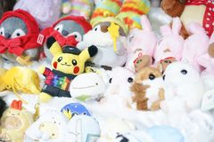 A photo of a lot of cute plush dolls with selective focus on pikachu doll wearing Pokemon Gym stock image