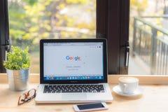 bangkok thailand 24. Januar 2016: Google-Netzsuchmaschine Franc Lizenzfreie Stockfotografie