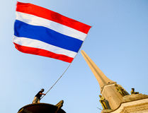 Bangkok, Thailand - 18. Januar 2014: Thailändische regierungsfeindliche Protestierender Lizenzfreies Stockfoto