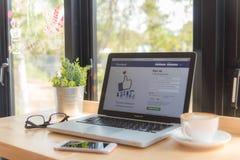 bangkok thailand 24 januari, 2016: Facebook-Webzoekmachine Royalty-vrije Stock Afbeelding