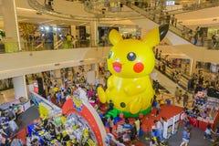 Bangkok, Thailand 10, Januari 2016: Pikachuballon in Pokemon F Stock Afbeelding