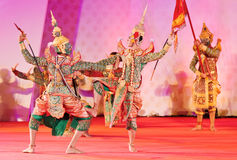 BANGKOK, THAILAND - JANUARY 15: Thai Traditional Dress. the ancient acting of Khon-Thai classical masked ballet in