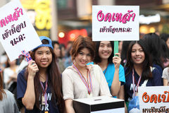 BANGKOK,THAILAND-JANUARY 24: Unidentified young girls show label Royalty Free Stock Photo