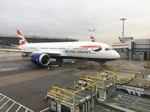 British Airways Jet on the tarmac at Suvarnabhumi Airport. BANGKOK, THAILAND - JANUARY 22, 2017: British Airways Jet on the tarmac at Suvarnabhumi Airport stock photography