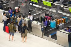Check-in for passengers on the Suvarnabhumi Airport. Bangkok royalty free stock photos