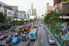 Bangkok, Thailand - January 27, 2018 : City scape Traffic on front of Central world, Iseton are favorite big shopping mall, hotel. S in business area around Stock Photo