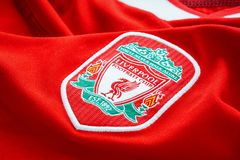 Close-up of Liverpool FC football home jersey circa 2002-2004