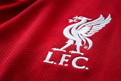 Close-up of Liverpool FC football home jersey circa 2018-2019