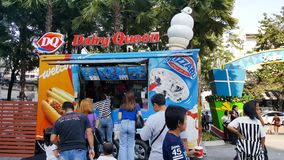 BANGKOK, THAILAND - JANUARY 12, 2019: dairy queen food truck shop that serve order to many of customers at King Power Rangnam