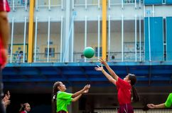 BANElementary school girls in Sports match at the school's annual sporting event. BANGKOK, THAILAND - January 15,2018 Elementary school girls in Sports match At royalty free stock image