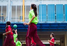 BANGKOK, THAILAND - January 15,2018 Elementary school girls in Sports match At the school's annual sporting event. BANGKOK, THAILAND - January 15,2018 Elementary royalty free stock images