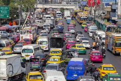 Heavy Traffic in main street of city center. Traffic jam in Bangkok, Thailand Royalty Free Stock Photos