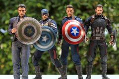 Including many versions of the captain america stock image