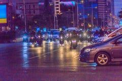 Bangkok, Thailand - January 30, 2017: Many Motorcycles on Sathor. N Road in Bangkok, nearby Chong Nonsi BTS Station, in evening time. Motorists wait at a Royalty Free Stock Photos