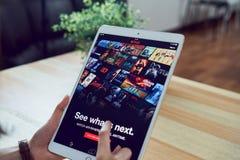 Bangkok, Thailand - January 31, 2018 : Netflix app on tablet screen. Netflix is an international leading subscription service. Bangkok, Thailand - January 31 royalty free stock photo
