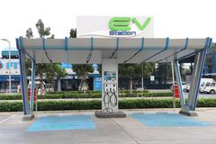 Bangkok,Thailand 2019 January 14: New charging station for electric car in PTT GAS station at Bangkok,Thailand stock photography
