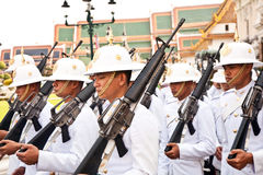 Parade of the kings Guards, in the Grand Palace, Bangkok Stock Photography