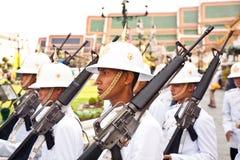 Parade of the kings Guards, in the Grand Palace, Bangkok Royalty Free Stock Photo