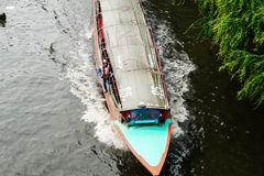BANGKOK, THAILAND - JANUARY 11, 2018: The passenger boat is running in the longest canal in Thailand (Khlong Saen Saep) in day ti stock images
