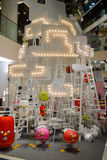 Bangkok, Thailand: January 29, 2017 at Siam Discovery Chinese New Year event. Artificial lamp is a form of birds. Royalty Free Stock Photos