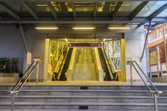 Bangkok, Thailand - January 28, 2017: Stairway and elevators at. Tao Poon MRT purple line station with no passenger Royalty Free Stock Photography