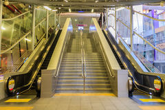 Bangkok, Thailand - January 28, 2017: Stairway and elevators at. Tao Poon MRT purple line station with no passenger Royalty Free Stock Images