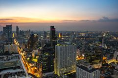 Top view of Bangkok on sunset Royalty Free Stock Photography