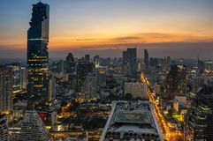 Top view of Bangkok on sunset Stock Photography