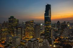 Top view of Bangkok on sunset Royalty Free Stock Photos