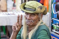 Portrait old man living in a poor district of Bangkok Klong Toe. Thailand, close up. BANGKOK, THAILAND - JANUARY 21, 2015: Unidentified man living in a poor stock images