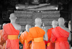 BANGKOK, THAILAND -11 JUL 2014 thai monks stand in the hall for royalty free stock photos