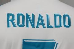 BANGKOK, THAILAND - 12. JULI: Der Name von Cristiano Ronaldo auf R Stockbild