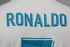 BANGKOK THAILAND - JULI 12: Namnet av Cristiano Ronaldo på R Fotografering för Bildbyråer