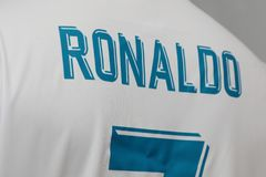 BANGKOK THAILAND - JULI 12: Namnet av Cristiano Ronaldo på R Arkivbild