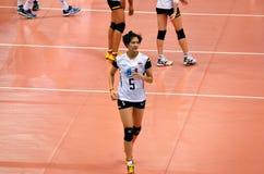 Bangkok, Thailand - 3. Juli 2015: Pleumjit Thinkaow #5 von Thailand während der FIVB-Volleyball-Welt Grandprix Stockfotos