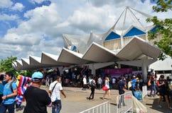 Bangkok, Thailand - Juli 3, 2015: Thaise verdedigers bij Binnenstadion Huamark Royalty-vrije Stock Afbeeldingen